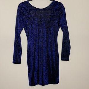 H&M Blue Shimmer Black Low Back Bodycon Dress